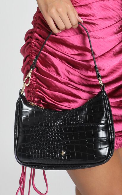 Peta and Jain - Tal Bag in Black Croc, Black, hi-res image number null