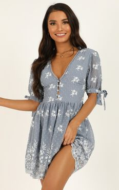 See The World Dress In Light Blue Embroidery