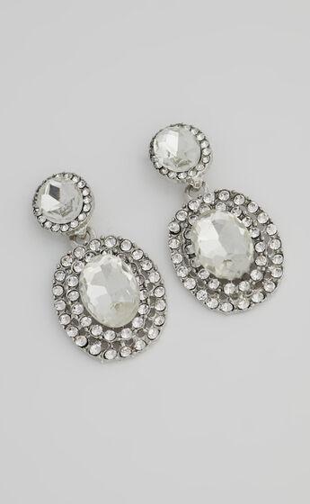 Gemmah Drop Rhinestone Earrings in Silver