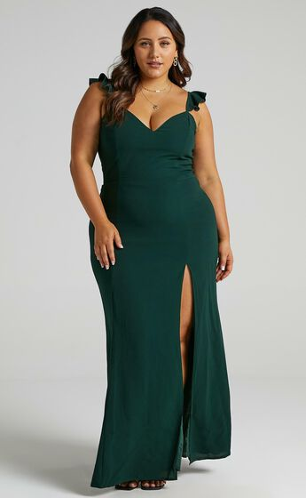 More Than This Ruffle Strap Maxi Dress in Emerald