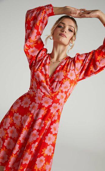 Rollas - Romantic Datura Wrap Dress in Pink Cordial