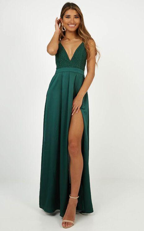Inspired Tribe Maxi Dress In Emerald Satin