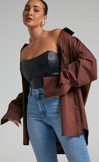 Janaya Longsleeve Shirt Dress in Chocolate