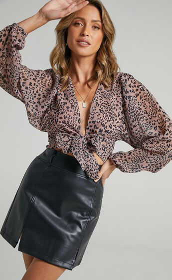 What More Can I Say Top in Mocha Leopard