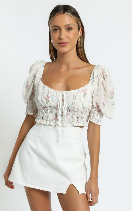 Esperanza Top in White Floral