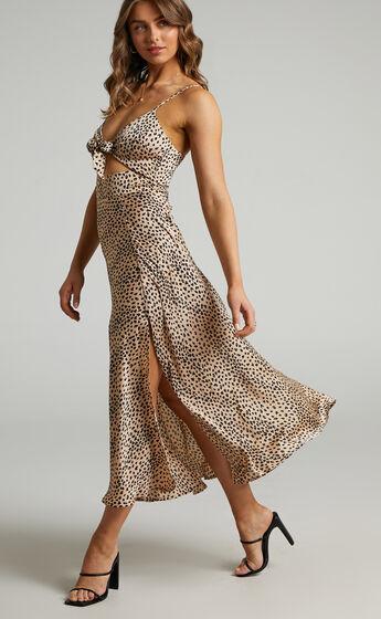 Kingsley Midi Length Dress with Split in Leopard Print