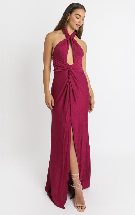 Ensley Twist Front Maxi Dress in Pink Glitter