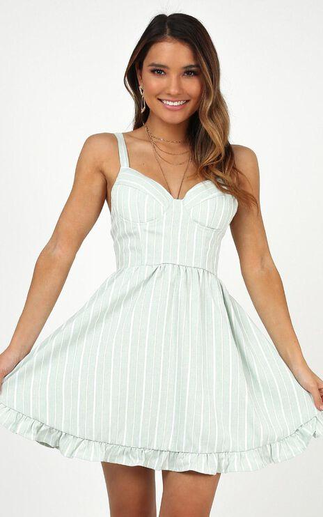 Save Some Love Dress In Sage Stripe
