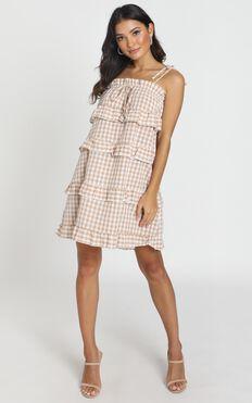Take Five Dress In Beige Check