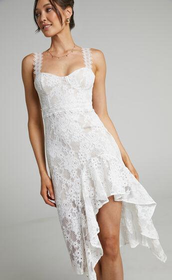 Leurah Midi length Sweetheart Lace Dress in White Lace