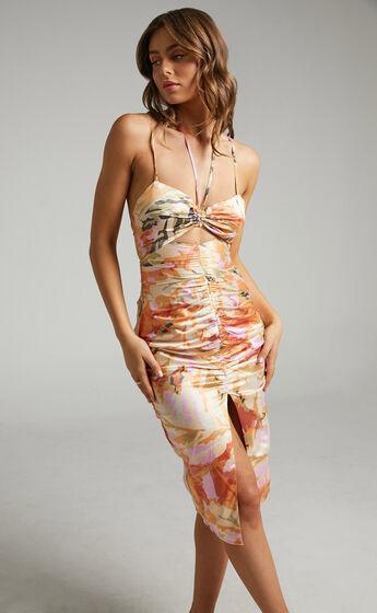Patrizia Halter Split Front midi dress in Abstract Palm