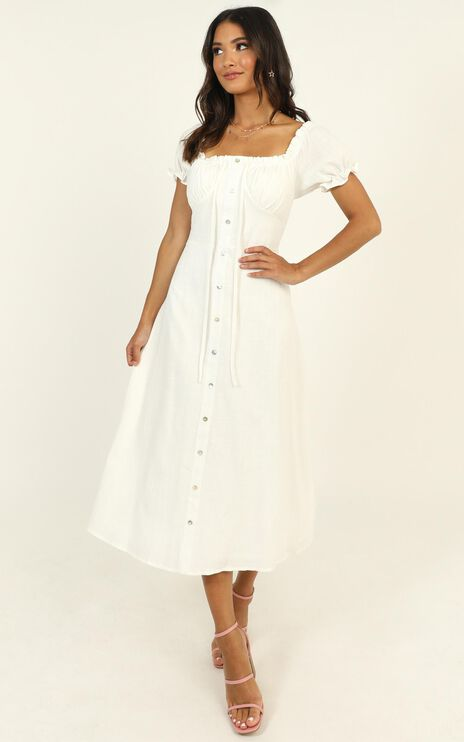 Beachside Sounds Dress In White