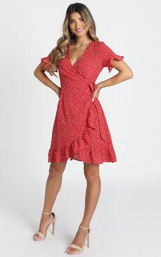 Ariyah Wrap Mini Dress In Red Floral
