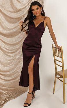 A Touch Of Your Love Dress In Aubergine Satin