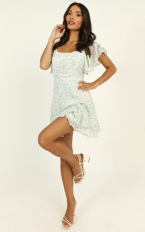 Take Things Well Dress in Mint Floral