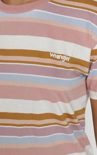 Wrangler - Lori Stripe Tee in spring hues - 12 (L), Pink, hi-res image number null