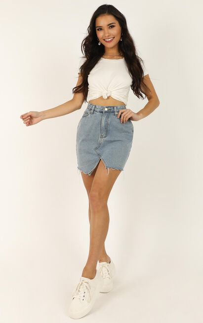 Love Its Clear Skirt In light blue wash denim - 18 (XXXL), Blue, hi-res image number null