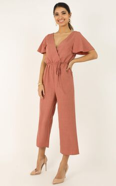 Clear Diary Jumpsuit In Rose