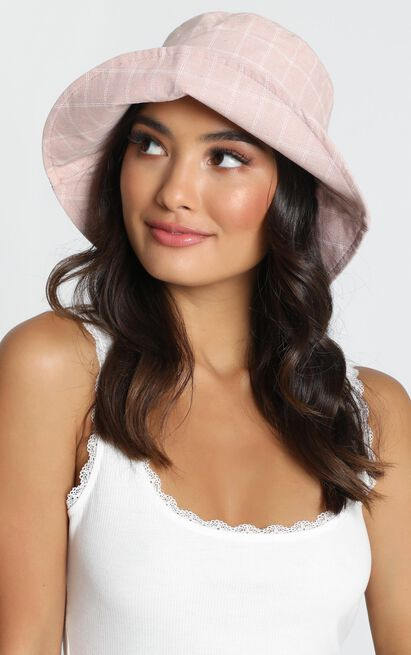 Afternoon Sunset Bucket Hat In Pink Check, , hi-res image number null