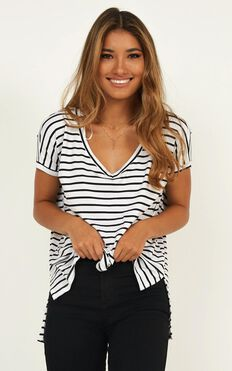 Back To Basics Top In White Stripe