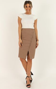 Work Diary Skirt In Mocha linen look