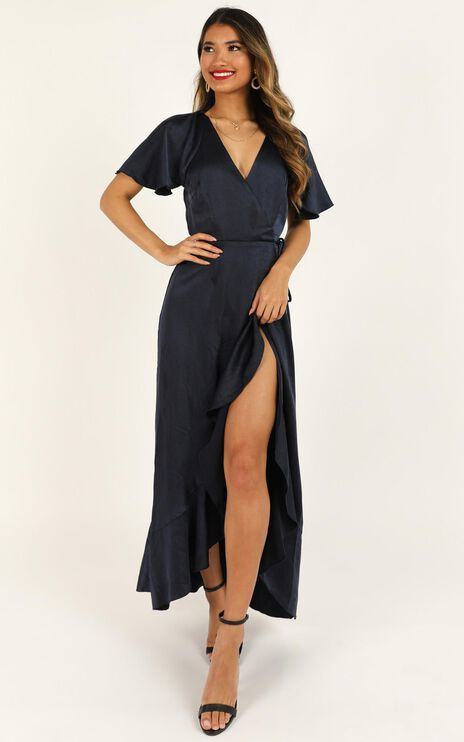 Wrap It Dress In Navy Satin