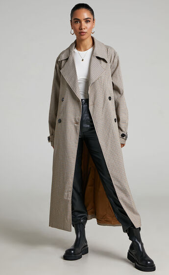 4th & Reckless - Chica Trench in Brown check