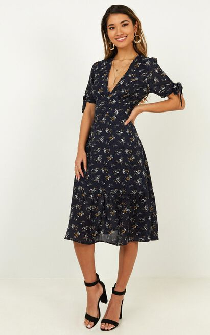 Mixing Friend Dress in navy floral - 12 (L), Navy, hi-res image number null