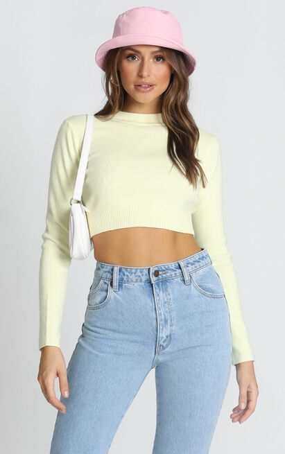 Model Off Duty Knit Top in pastel yellow - M/L, Yellow, hi-res image number null