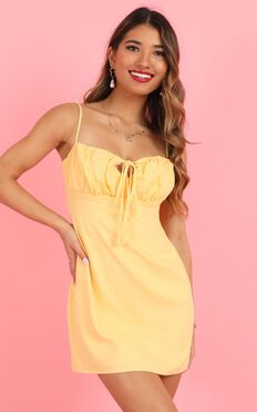 Break Free With Me Dress In Pale Yellow Linen Look