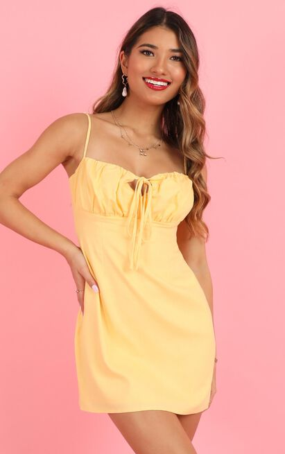 Break Free With Me dress in pale yellow linen look - 20 (XXXXL), Yellow, hi-res image number null