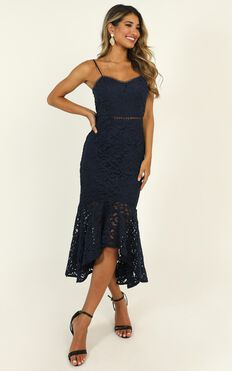 Might Have Been Dress In Navy Lace