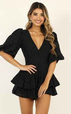 I Want It All Playsuit In Black Embroidery