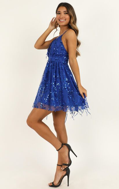 Watch The Queen Conquer Dress In Cobalt Blue Sequin  - 14 (XL), Blue, hi-res image number null