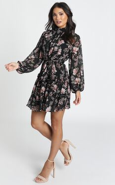 Aurora Mini Dress In Black Floral