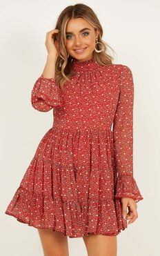 Final Call Dress In Red Print