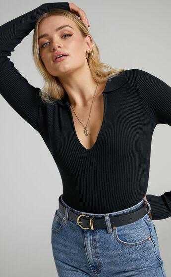 Coco V Neck Bodysuit in Black