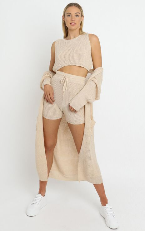 Saffron Knit Three Piece Set in Beige