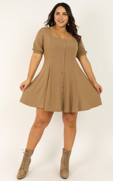 Lets Do This Dress In Mocha