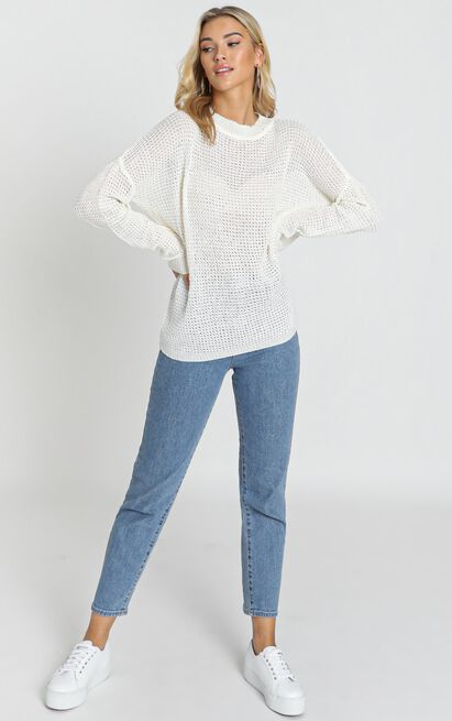 Envious lady knit top in white waffle - 18 (XXXL), White, hi-res image number null