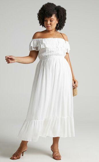 Notre Dame Off Shoulder Maxi Dress in White