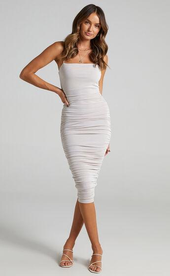 Commit To Me Bodycon Midi Dress in Stone