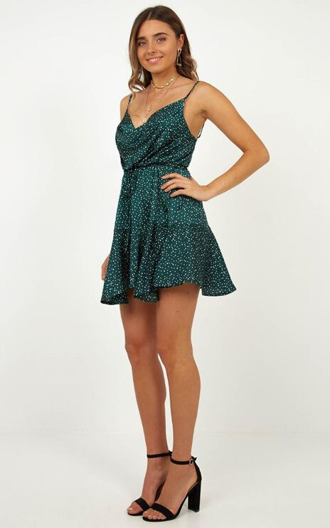 Lay Low Dress In Teal Spot Satin