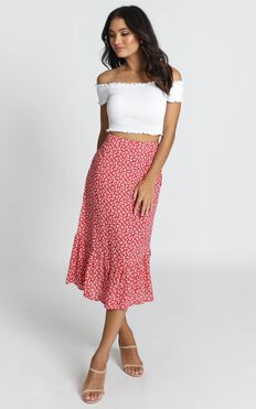 Summer Crush Skirt In Red Floral