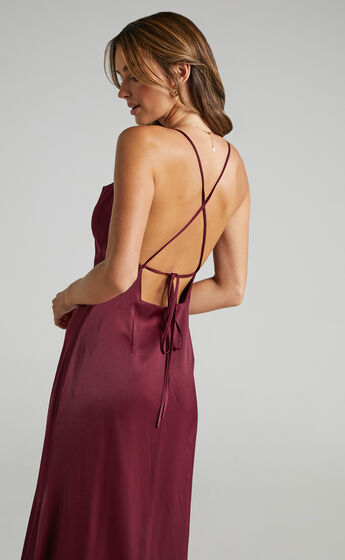 A Final Toast Dress in Mulberry Satin