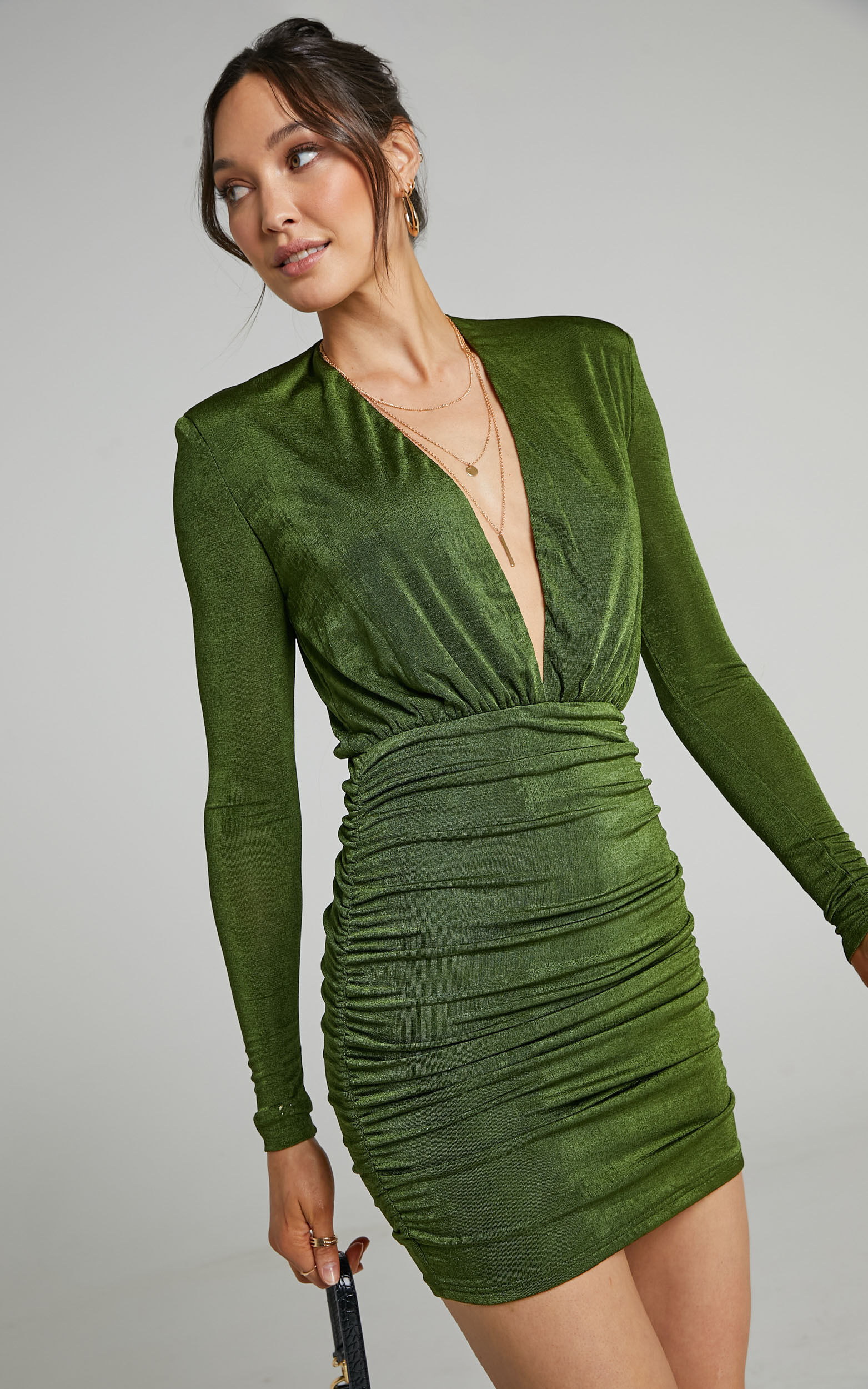Kaitie Mini Deep V Open Front Ruched Dress in Khaki - 06, GRN2, super-hi-res image number null