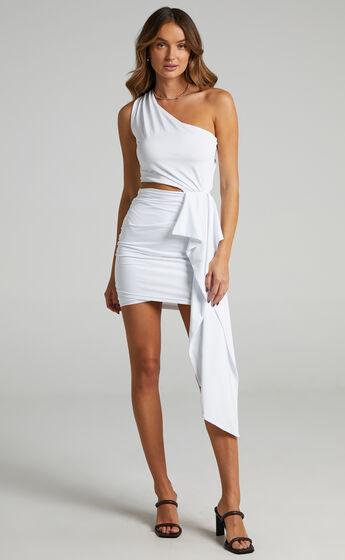 Danniela One Shoulder Drape Mini Dress in White
