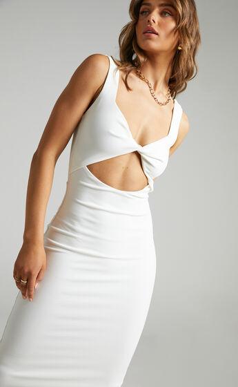 Coyote Twist Detail Midi Dress in White