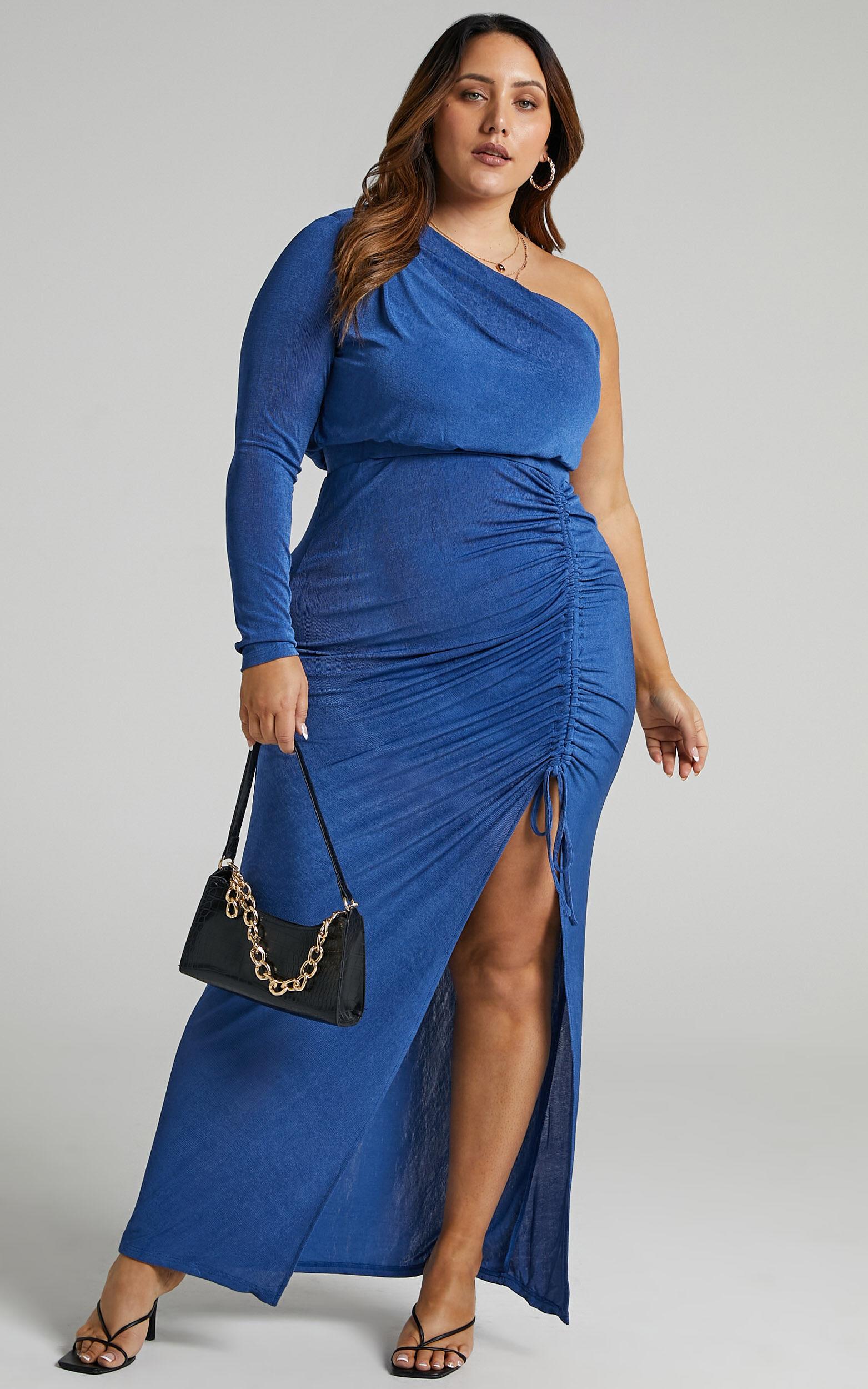 Eleiza One Shoulder Ruched Midi Dress in Cobalt - 20, BLU1, super-hi-res image number null