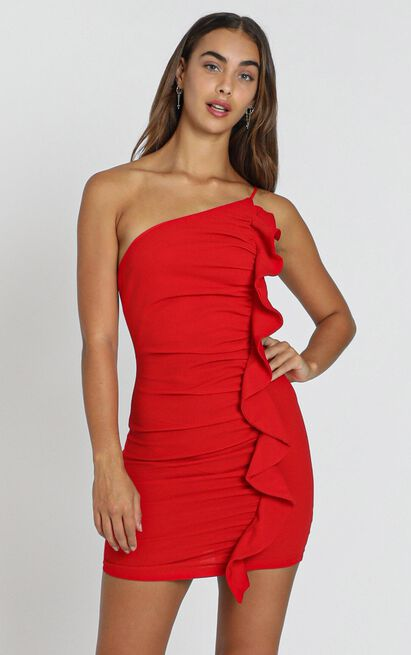 Angelina Bodycon Frill Dress in Red- 6 (XS), Red, hi-res image number null